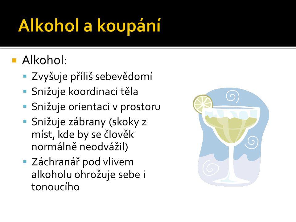  Alkohol:  Zvyšuje příliš sebevědomí  Snižuje koordinaci těla  Snižuje orientaci v prostoru  Snižuje zábrany (skoky z míst, kde by se člověk normálně neodvážil)  Záchranář pod vlivem alkoholu ohrožuje sebe i tonoucího
