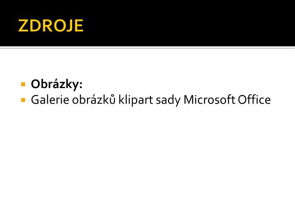  Obrázky:  Galerie obrázků klipart sady Microsoft Office