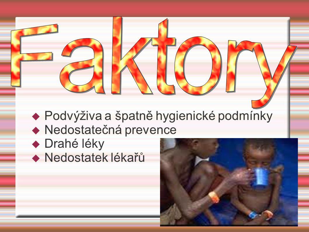  Podvýživa a špatně hygienické podmínky  Nedostatečná prevence  Drahé léky  Nedostatek lékařů