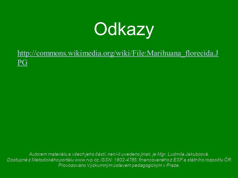Odkazy http://commons.wikimedia.org/wiki/File:Marihuana_florecida.J PG Autorem materiálu a všech jeho částí, není-li uvedeno jinak, je Mgr.