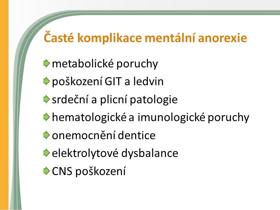 Časté komplikace mentální anorexie metabolické poruchy poškození GIT a ledvin srdeční a plicní patologie hematologické a imunologické poruchy onemocnění dentice elektrolytové dysbalance CNS poškození
