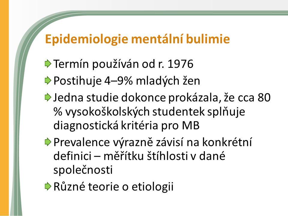 Epidemiologie mentální bulimie Termín používán od r.