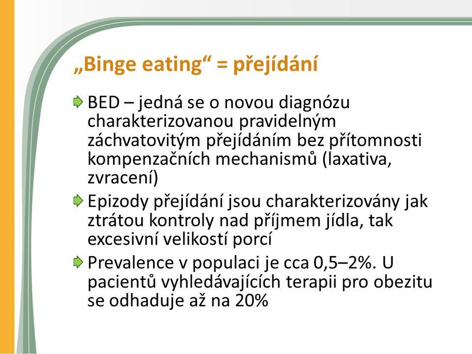 """""""Binge eating = přejídání BED – jedná se o novou diagnózu charakterizovanou pravidelným záchvatovitým přejídáním bez přítomnosti kompenzačních mechanismů (laxativa, zvracení) Epizody přejídání jsou charakterizovány jak ztrátou kontroly nad příjmem jídla, tak excesivní velikostí porcí Prevalence v populaci je cca 0,5–2%."""