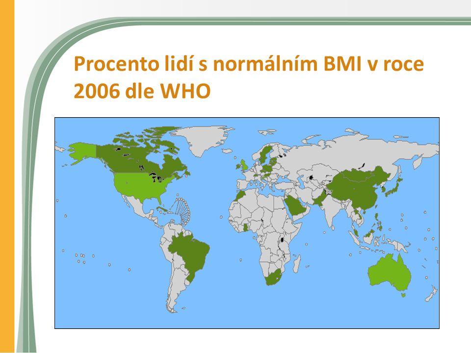Procento lidí s normálním BMI v roce 2006 dle WHO
