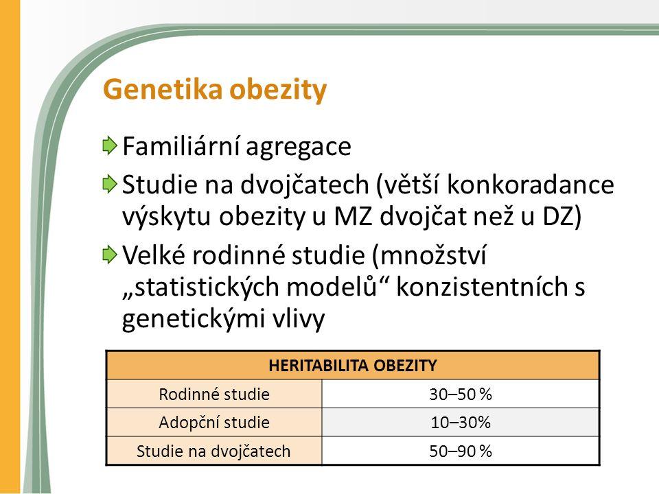 """Genetika obezity Familiární agregace Studie na dvojčatech (větší konkoradance výskytu obezity u MZ dvojčat než u DZ) Velké rodinné studie (množství """"statistických modelů konzistentních s genetickými vlivy HERITABILITA OBEZITY Rodinné studie30–50 % Adopční studie10–30% Studie na dvojčatech50–90 %"""