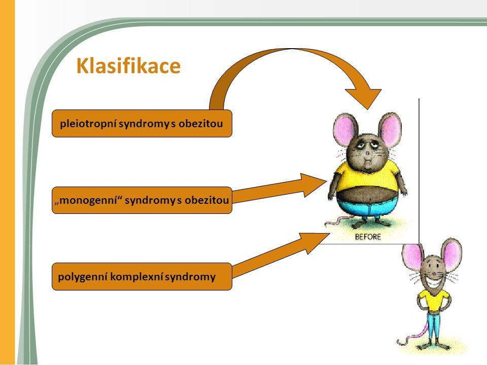 """Klasifikace pleiotropní syndromy s obezitou """"monogenní syndromy s obezitou polygenní komplexní syndromy"""