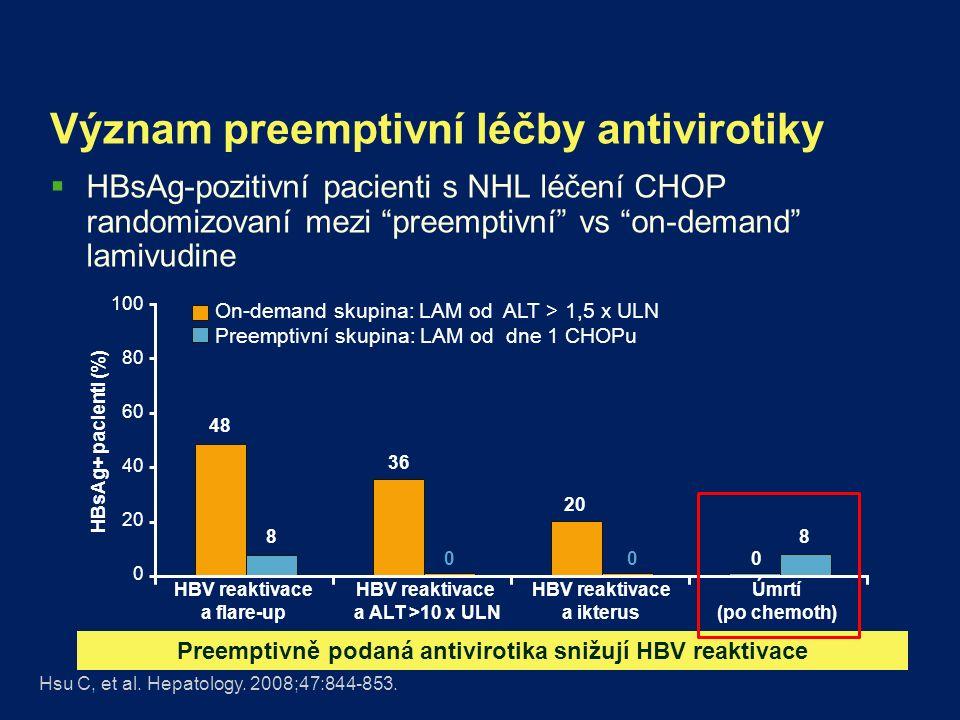 Načasování zahájení léčby antivirotiky  Kdy zahájit –Ideálně současně s chemoterapií –Neodkládat zahájení antivirotik až po zahájení chemoterapie  Kdy ukončit antivirotika –Výchozí HBV DNA > 2000 IU/ml: vysoké riziko vzplanutí –Antivirotika pokračují jako při léčbě chronické hepatitidy B –Výchozí HBV DNA < 2000 IU/ml –6-12 měsíců po ukončeníc chemotherapie  Monitorovat po vysazení HBV DNA a ALT každý měsíc EASL.