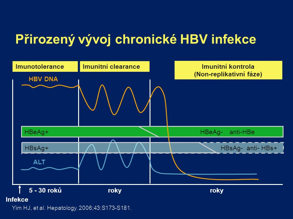 Přirozený vývoj chronické HBV infekce Yim HJ, et al. Hepatology. 2006;43:S173-S181. HBeAg+HBeAg-anti-HBe Imunitní clearanceImunotolerance ALT HBV DNA