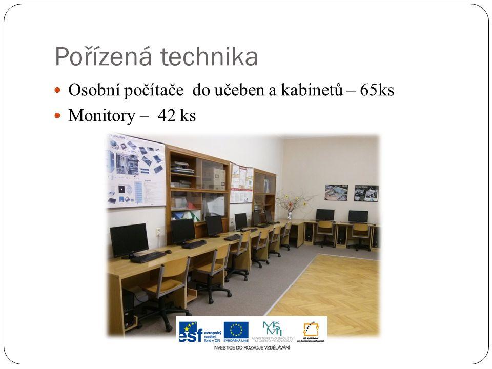 Pořízená technika Osobní počítače do učeben a kabinetů – 65ks Monitory – 42 ks