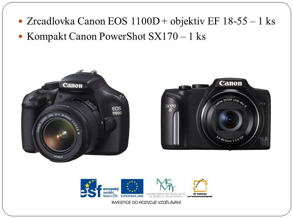 Zrcadlovka Canon EOS 1100D + objektiv EF 18-55 – 1 ks Kompakt Canon PowerShot SX170 – 1 ks