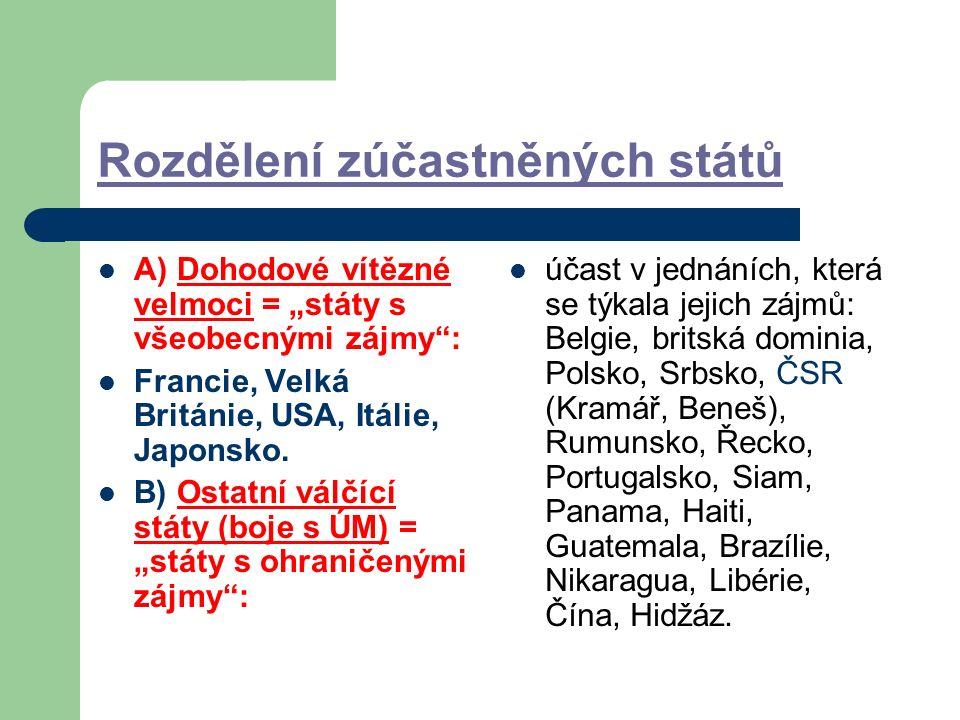 """Rozdělení zúčastněných států A) Dohodové vítězné velmoci = """"státy s všeobecnými zájmy : Francie, Velká Británie, USA, Itálie, Japonsko."""