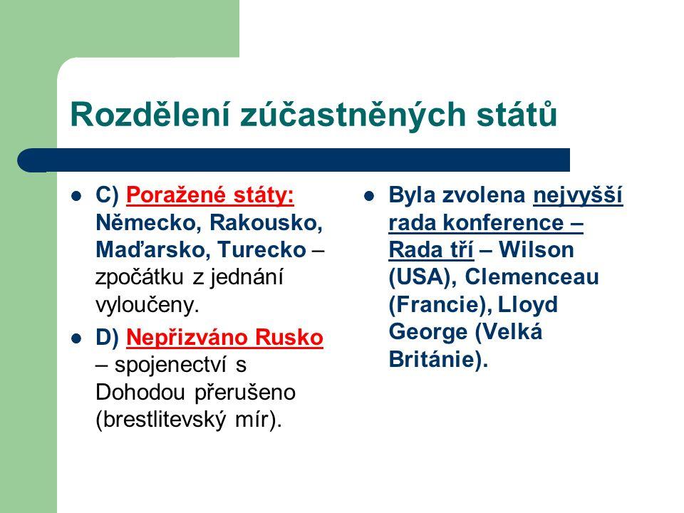 Rozdělení zúčastněných států C) Poražené státy: Německo, Rakousko, Maďarsko, Turecko – zpočátku z jednání vyloučeny. D) Nepřizváno Rusko – spojenectví