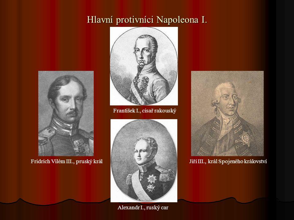 Napoleonovi protivníci na válečném poli Arcivévoda Karel, Kníže Karel Filip Schwarzenberg, Kníže Michail Ilirionovič Kutuzov, rakouský maršál, rakouský maršál, ruský maršál, způsobil Napoleonovi problémy vítěz v bitvě národů u Lipska 1813 porazil Napoleona roku 1812 v bitvě u Aspern 1809 při tažení do Ruska