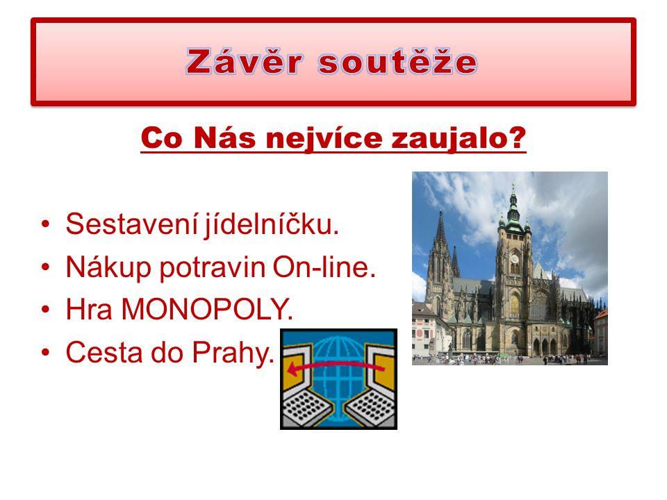 Co Nás nejvíce zaujalo Sestavení jídelníčku. Nákup potravin On-line. Hra MONOPOLY. Cesta do Prahy.