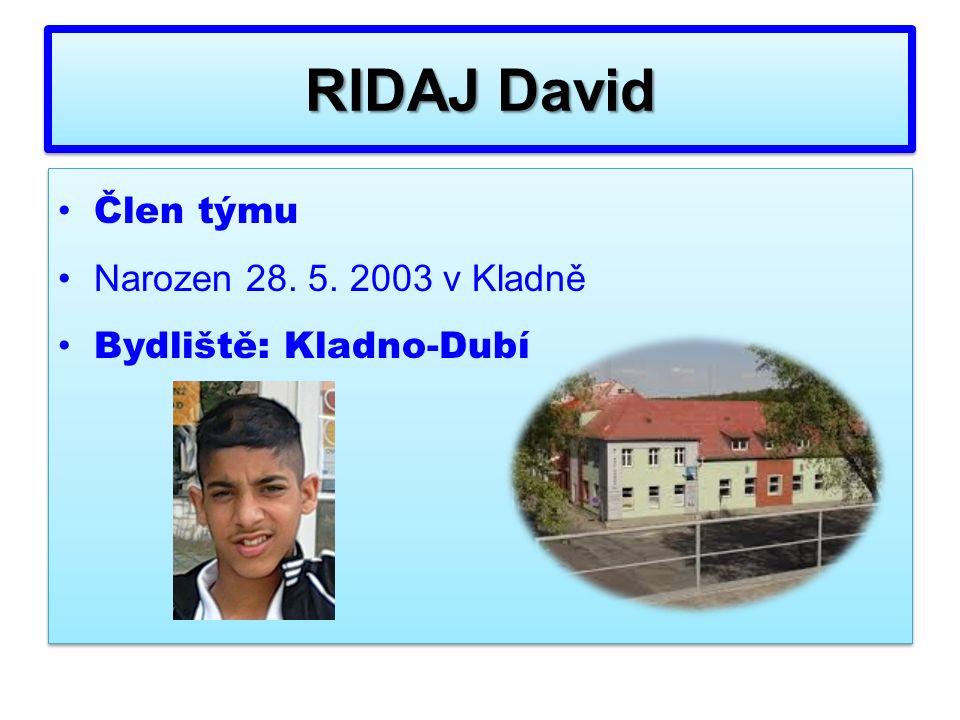 Člen týmu Narozen 28. 5. 2003 v Kladně Bydliště: Kladno-Dubí Člen týmu Narozen 28.