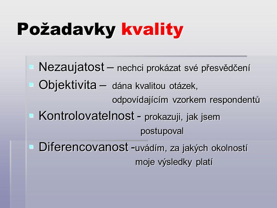 Požadavky kvality  Nezaujatost – nechci prokázat své přesvědčení  Objektivita – dána kvalitou otázek, odpovídajícím vzorkem respondentů odpovídajícím vzorkem respondentů  Kontrolovatelnost - prokazuji, jak jsem postupoval postupoval  Diferencovanost - uvádím, za jakých okolností moje výsledky platí moje výsledky platí