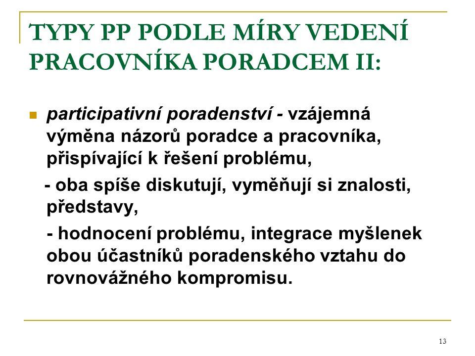 13 TYPY PP PODLE MÍRY VEDENÍ PRACOVNÍKA PORADCEM II: participativní poradenství - vzájemná výměna názorů poradce a pracovníka, přispívající k řešení problému, - oba spíše diskutují, vyměňují si znalosti, představy, - hodnocení problému, integrace myšlenek obou účastníků poradenského vztahu do rovnovážného kompromisu.