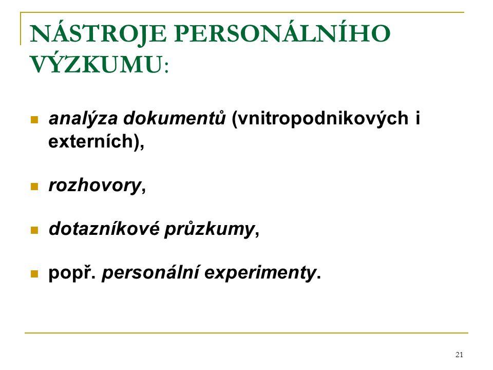 21 NÁSTROJE PERSONÁLNÍHO VÝZKUMU: analýza dokumentů (vnitropodnikových i externích), rozhovory, dotazníkové průzkumy, popř.