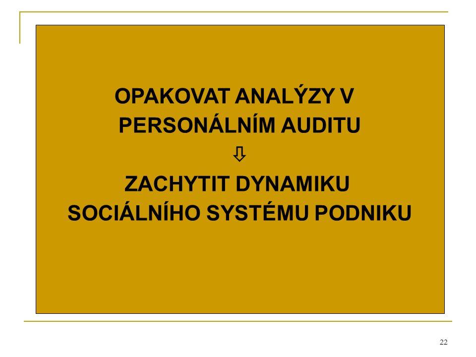 22 OPAKOVAT ANALÝZY V PERSONÁLNÍM AUDITU  ZACHYTIT DYNAMIKU SOCIÁLNÍHO SYSTÉMU PODNIKU