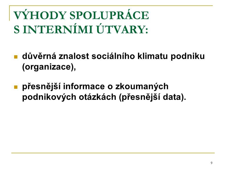 9 VÝHODY SPOLUPRÁCE S INTERNÍMI ÚTVARY: důvěrná znalost sociálního klimatu podniku (organizace), přesnější informace o zkoumaných podnikových otázkách (přesnější data).