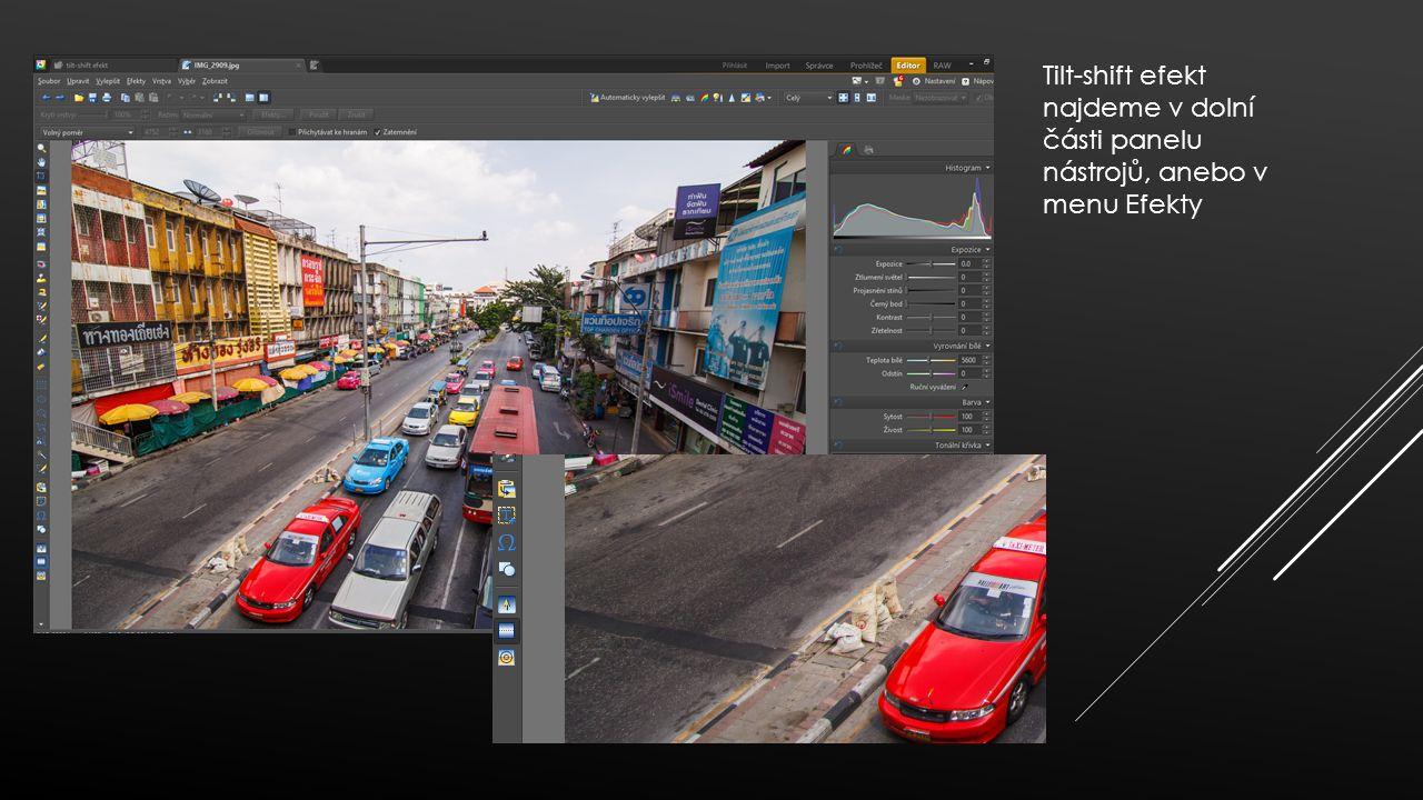 Pro umístění nástroje do fotografie stačí jednoduše poklepat myší, případně položit kurzor myši nad určité místo a tažením do strany rovnou přizpůsobit i náklon osy Tilt-shift efektu.