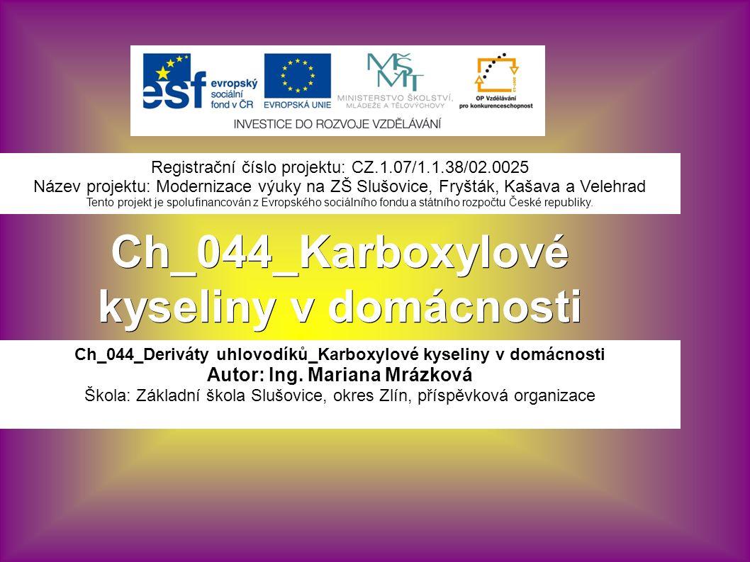 Ch_044_Karboxylové kyseliny v domácnosti Ch_044_Deriváty uhlovodíků_Karboxylové kyseliny v domácnosti Autor: Ing.