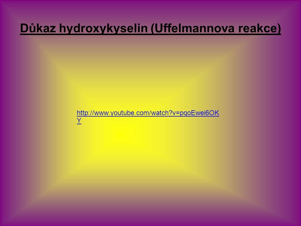 Důkaz hydroxykyselin (Uffelmannova reakce) http://www.youtube.com/watch v=pqoEwei6OK Y