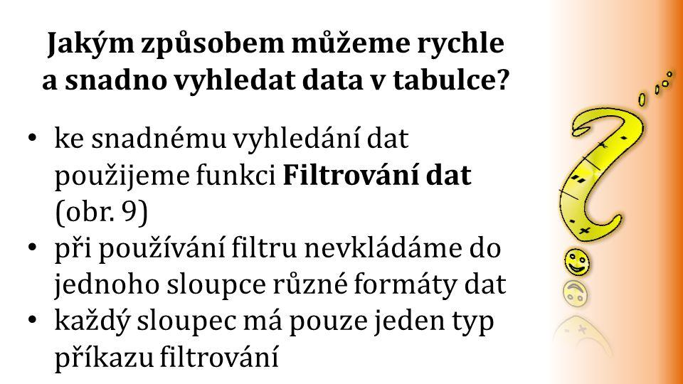 ke snadnému vyhledání dat použijeme funkci Filtrování dat (obr.