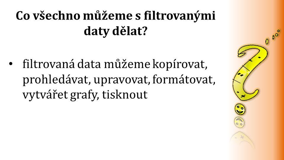 filtrovaná data můžeme kopírovat, prohledávat, upravovat, formátovat, vytvářet grafy, tisknout Co všechno můžeme s filtrovanými daty dělat?