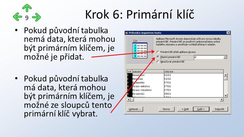 Pokud původní tabulka nemá data, která mohou být primárním klíčem, je možné je přidat.