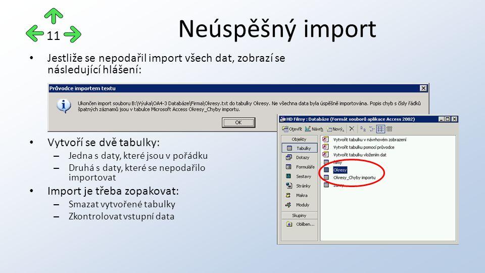 Jestliže se nepodařil import všech dat, zobrazí se následující hlášení: Vytvoří se dvě tabulky: – Jedna s daty, které jsou v pořádku – Druhá s daty, které se nepodařilo importovat Import je třeba zopakovat: – Smazat vytvořené tabulky – Zkontrolovat vstupní data Neúspěšný import 11