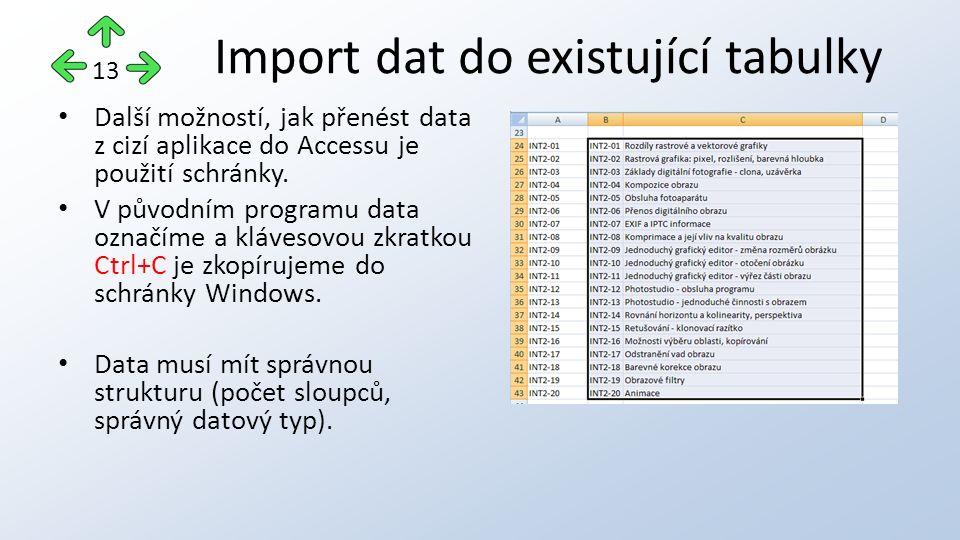 Další možností, jak přenést data z cizí aplikace do Accessu je použití schránky.
