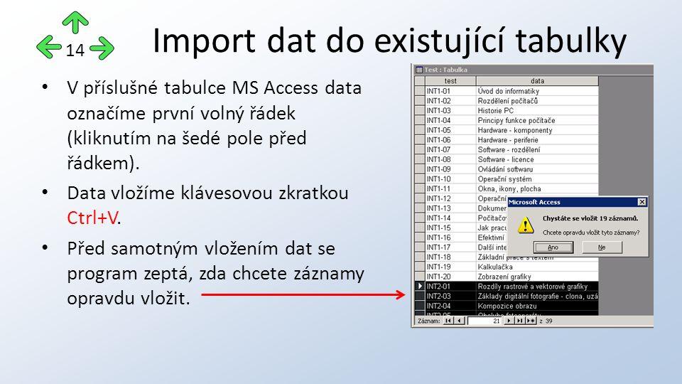 V příslušné tabulce MS Access data označíme první volný řádek (kliknutím na šedé pole před řádkem). Data vložíme klávesovou zkratkou Ctrl+V. Před samo