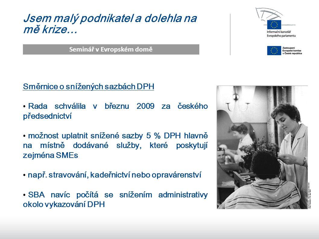12 Jsem malý podnikatel a dolehla na mě krize… Seminář v Evropském domě Směrnice o snížených sazbách DPH Rada schválila v březnu 2009 za českého předsednictví možnost uplatnit snížené sazby 5 % DPH hlavně na místně dodávané služby, které poskytují zejména SMEs např.