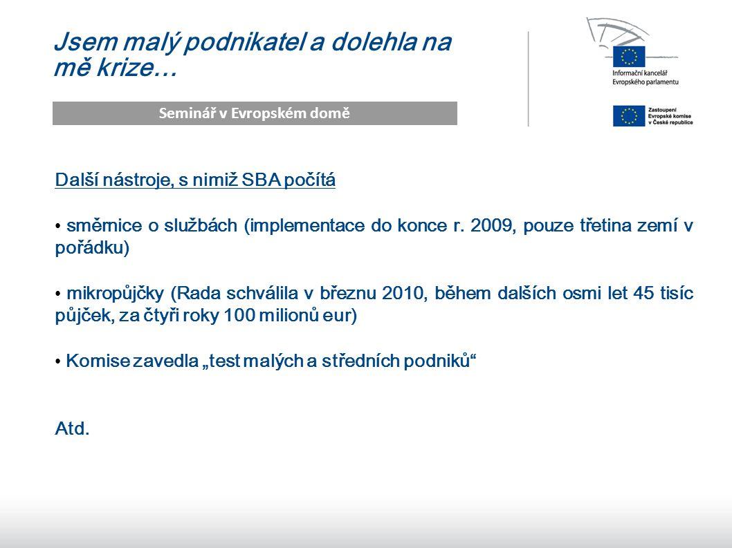 14 Jsem malý podnikatel a dolehla na mě krize… Seminář v Evropském domě Další nástroje, s nimiž SBA počítá směrnice o službách (implementace do konce r.