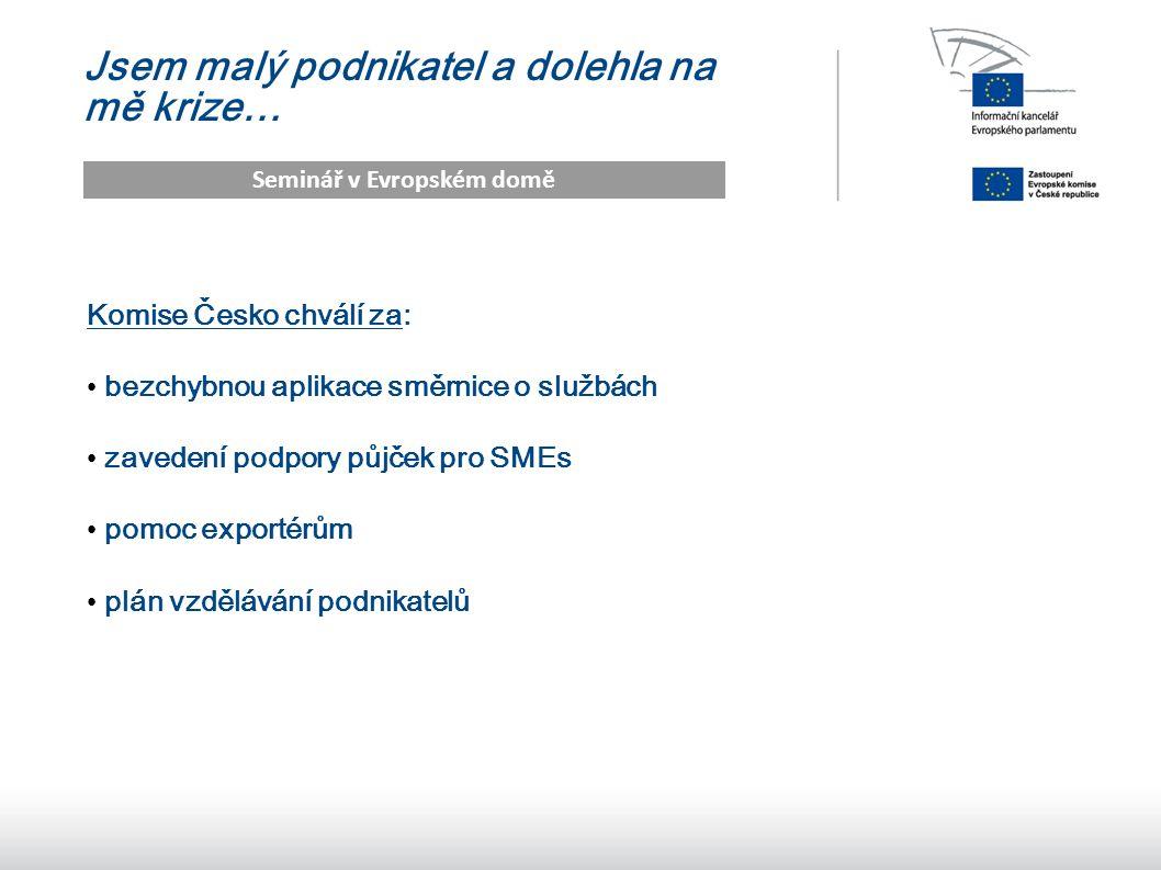 17 Jsem malý podnikatel a dolehla na mě krize… Seminář v Evropském domě Komise Česko chválí za: bezchybnou aplikace směrnice o službách zavedení podpory půjček pro SMEs pomoc exportérům plán vzdělávání podnikatelů