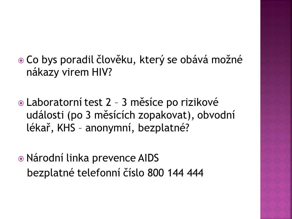  Co bys poradil člověku, který se obává možné nákazy virem HIV.