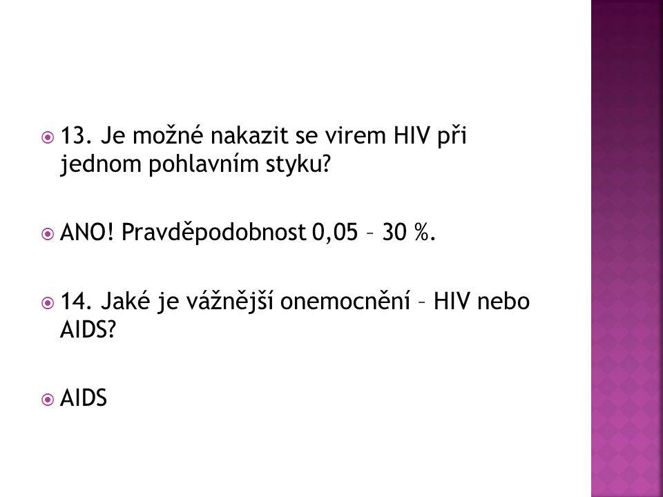  13. Je možné nakazit se virem HIV při jednom pohlavním styku.