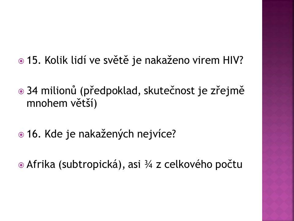  15. Kolik lidí ve světě je nakaženo virem HIV.