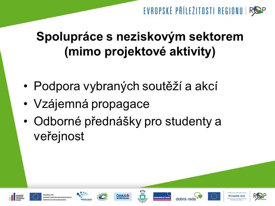Spolupráce s neziskovým sektorem (mimo projektové aktivity) Podpora vybraných soutěží a akcí Vzájemná propagace Odborné přednášky pro studenty a veřejnost