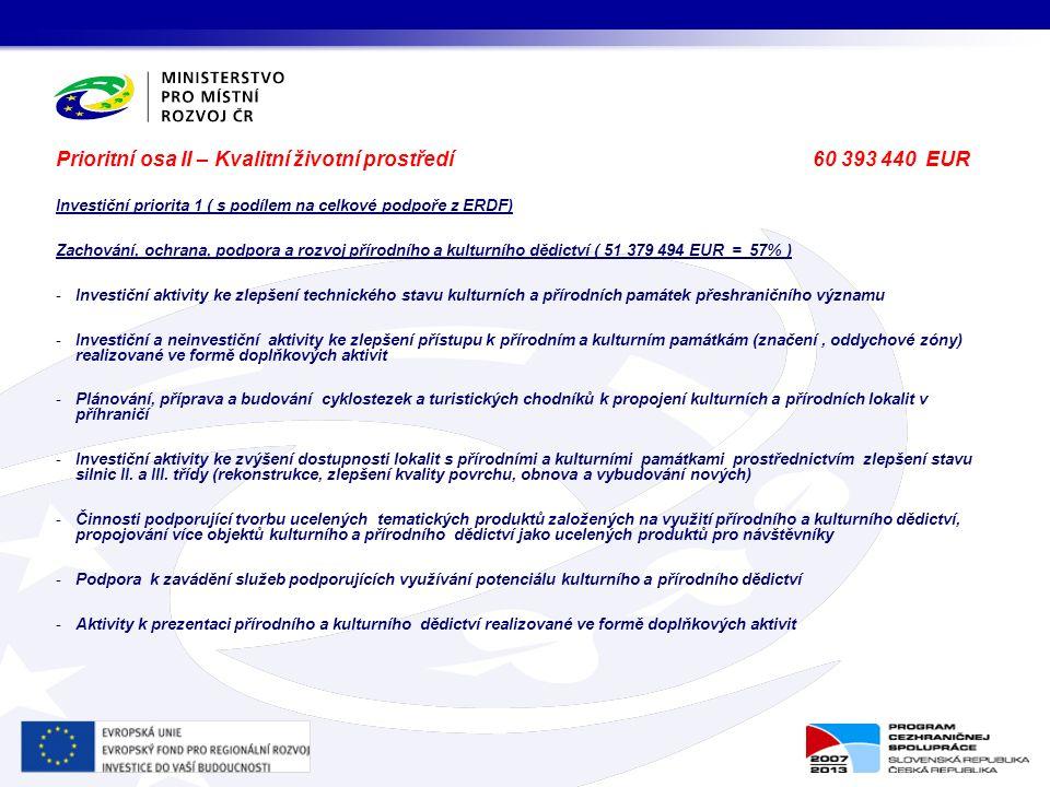 Prioritní osa II – Kvalitní životní prostředí 60 393 440 EUR Investiční priorita 1 ( s podílem na celkové podpoře z ERDF) Zachování, ochrana, podpora