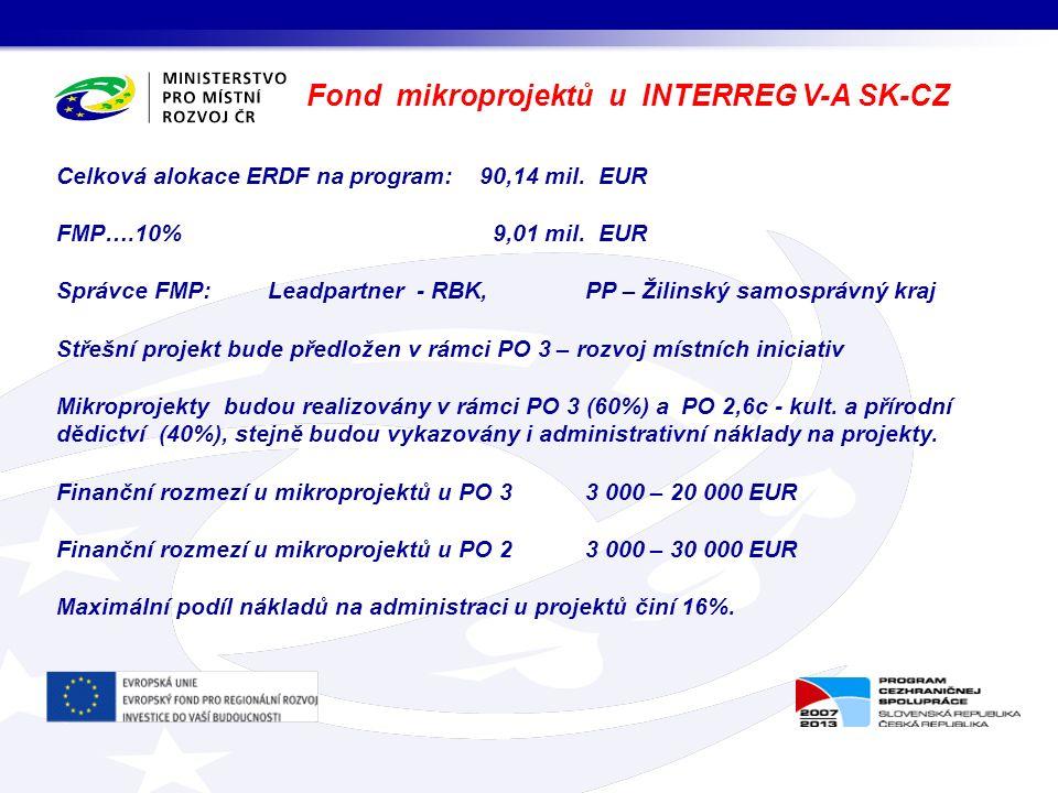 Celková alokace ERDF na program: 90,14 mil. EUR FMP….10% 9,01 mil. EUR Správce FMP: Leadpartner - RBK, PP – Žilinský samosprávný kraj Střešní projekt