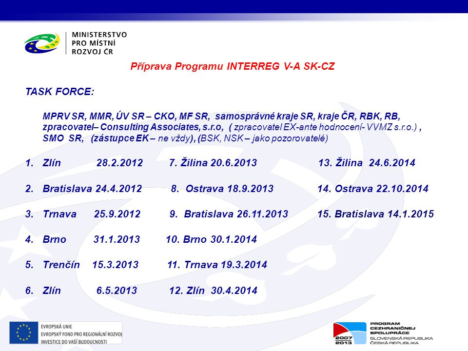 Příprava Programu INTERREG V-A SK-CZ TASK FORCE: MPRV SR, MMR, ÚV SR – CKO, MF SR, samosprávné kraje SR, kraje ČR, RBK, RB, zpracovatel– Consulting As