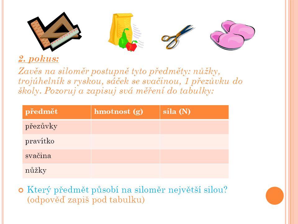 2. pokus: Zavěs na siloměr postupně tyto předměty: nůžky, trojúhelník s ryskou, sáček se svačinou, 1 přezůvku do školy. Pozoruj a zapisuj svá měření d