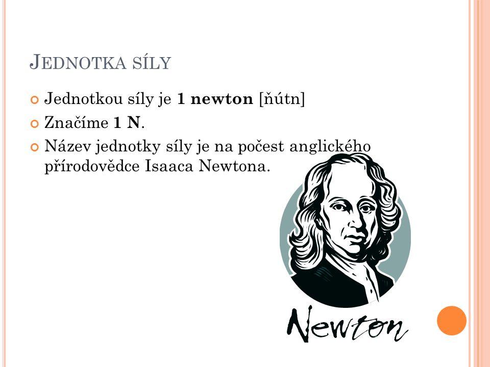 J EDNOTKA SÍLY Jednotkou síly je 1 newton [ňútn] Značíme 1 N.
