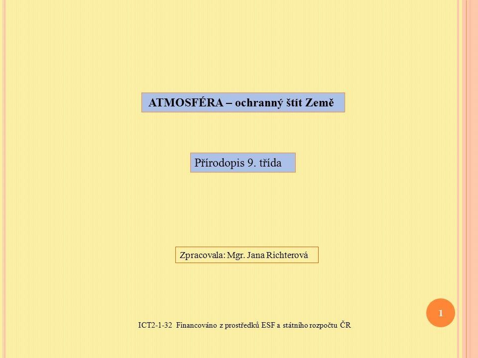 ICT2-1-32 Financováno z prostředků ESF a státního rozpočtu ČR 1 ATMOSFÉRA – ochranný štít Země Přírodopis 9.