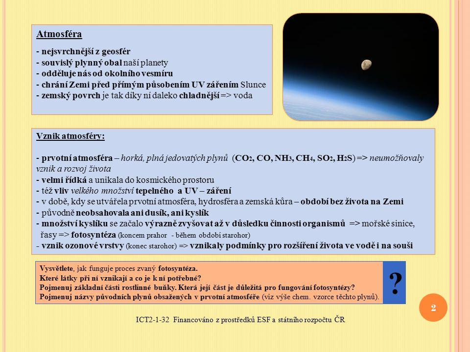 ICT2-1-32 Financováno z prostředků ESF a státního rozpočtu ČR 2 Atmosféra - nejsvrchnější z geosfér - souvislý plynný obal naší planety - odděluje nás od okolního vesmíru - chrání Zemi před přímým působením UV zářením Slunce - zemský povrch je tak díky ní daleko chladnější => voda Vznik atmosféry: - prvotní atmosféra – horká, plná jedovatých plynů (CO 2, CO, NH 3, CH 4, SO 2, H 2 S) => neumožňovaly vznik a rozvoj života - velmi řídká a unikala do kosmického prostoru - též vliv velkého množství tepelného a UV – záření - v době, kdy se utvářela prvotní atmosféra, hydrosféra a zemská kůra – období bez života na Zemi - původně neobsahovala ani dusík, ani kyslík - množství kyslíku se začalo výrazně zvyšovat až v důsledku činnosti organismů => mořské sinice, řasy => fotosyntéza (koncem prahor - během období starohor) - vznik ozonové vrstvy (konec starohor) => vznikaly podmínky pro rozšíření života ve vodě i na souši Vysvětlete, jak funguje proces zvaný fotosyntéza.
