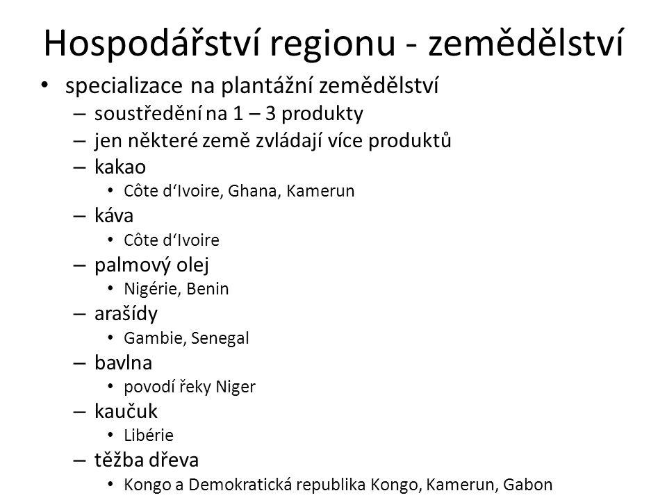 Hospodářství regionu - zemědělství specializace na plantážní zemědělství – soustředění na 1 – 3 produkty – jen některé země zvládají více produktů – kakao Côte d'Ivoire, Ghana, Kamerun – káva Côte d'Ivoire – palmový olej Nigérie, Benin – arašídy Gambie, Senegal – bavlna povodí řeky Niger – kaučuk Libérie – těžba dřeva Kongo a Demokratická republika Kongo, Kamerun, Gabon