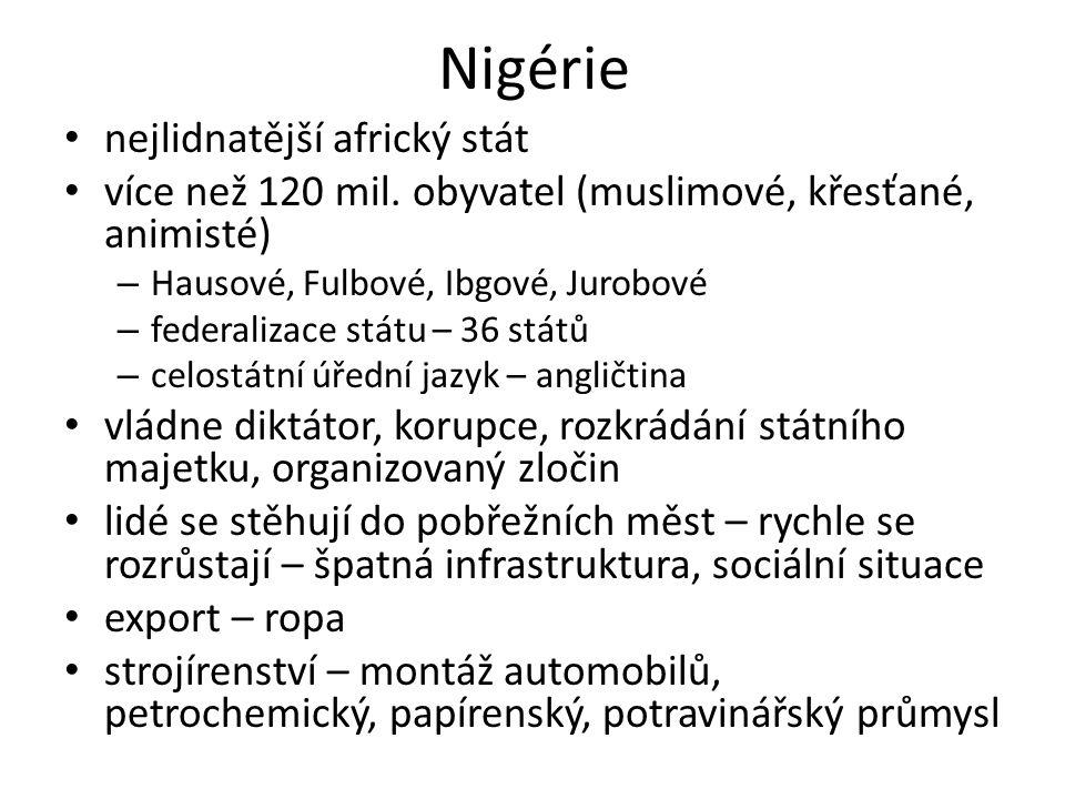 Nigérie nejlidnatější africký stát více než 120 mil. obyvatel (muslimové, křesťané, animisté) – Hausové, Fulbové, Ibgové, Jurobové – federalizace stát