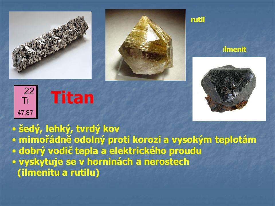 Titan šedý, lehký, tvrdý kov mimořádně odolný proti korozi a vysokým teplotám dobrý vodič tepla a elektrického proudu vyskytuje se v horninách a neros